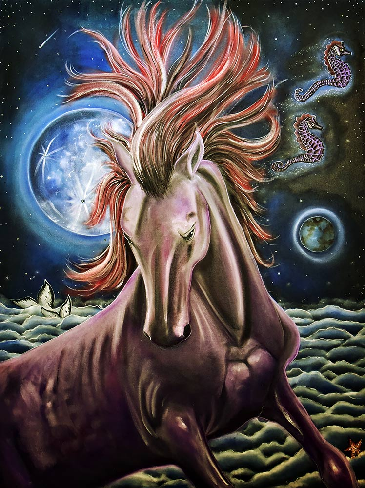 """Sky Stallion' - Oil and acrylic on canvas - 36"" x 48"""